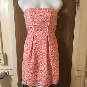 Floral Lace Orange/peach and white dress